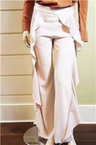 1fd7fcdd0211 AUTH NEW ALice Olivia Wallace Side Ruffle Pants in Ivory $395 | eBay
