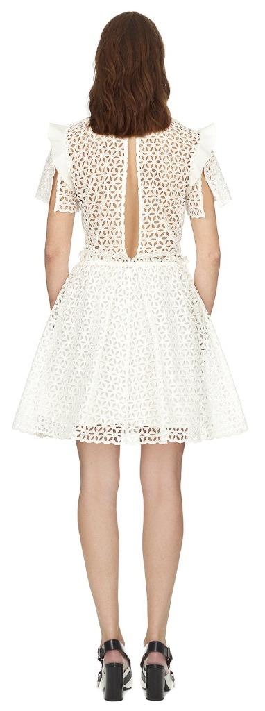 2018 Auth New Self-Portrait broderie anglaise frilled mini dress    475 9e7cd9