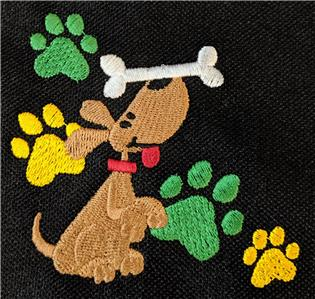 Puppy Dog Bone /& Paw Prints Monogram Scarf Black Fleece Groomer Pet Adopt Gift