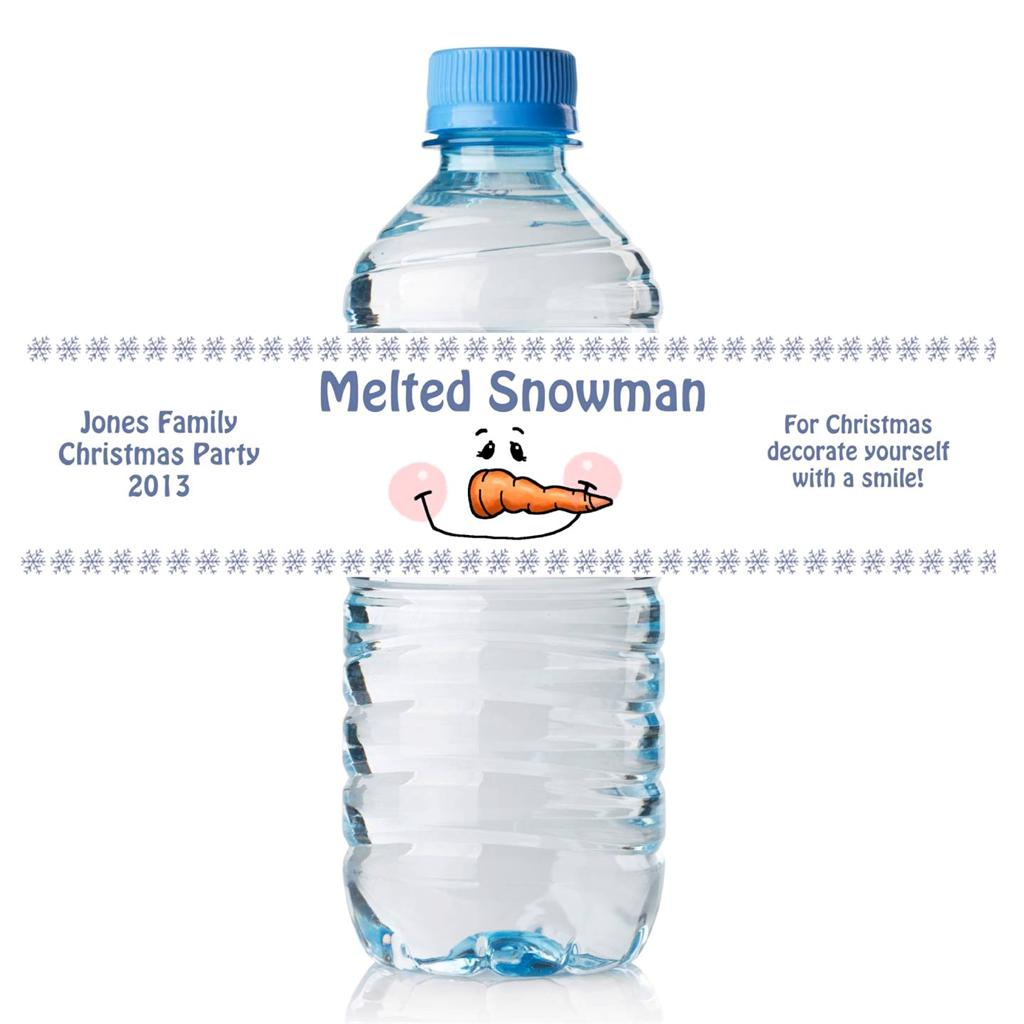 24 Personalized Melted Snowman Water Bottle Labels