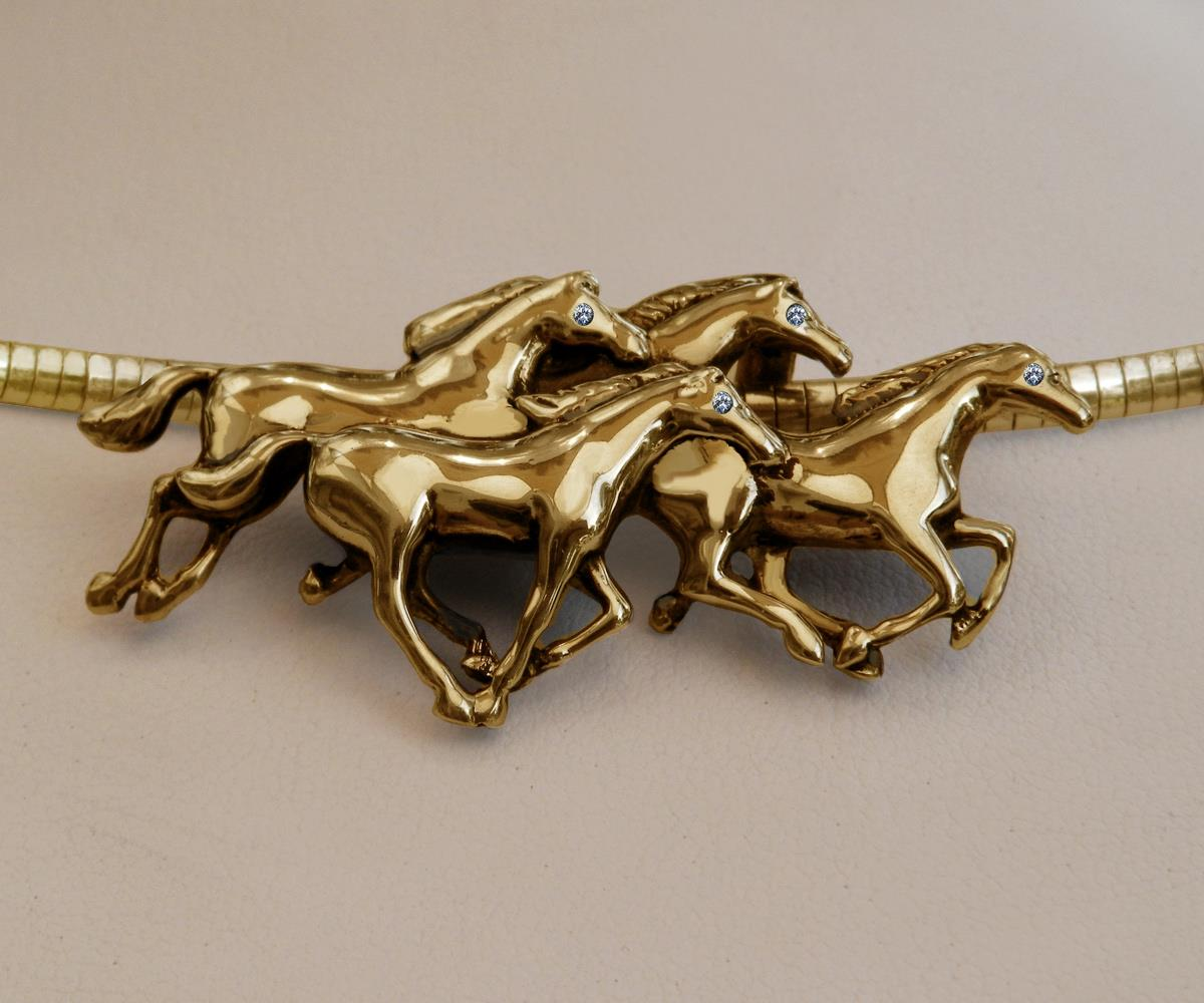 Beautiful Solid 14k Gold Horse Pendant Necklace Italian