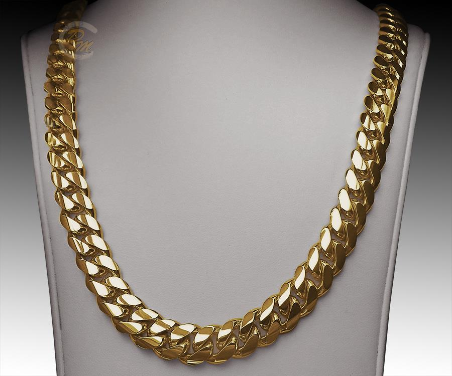 14k Gold Miami Men S Cuban Curb Link Chain Necklace 24