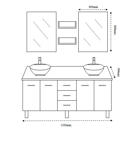 New Double Bathroom Vanity Unit Above Counter Basin