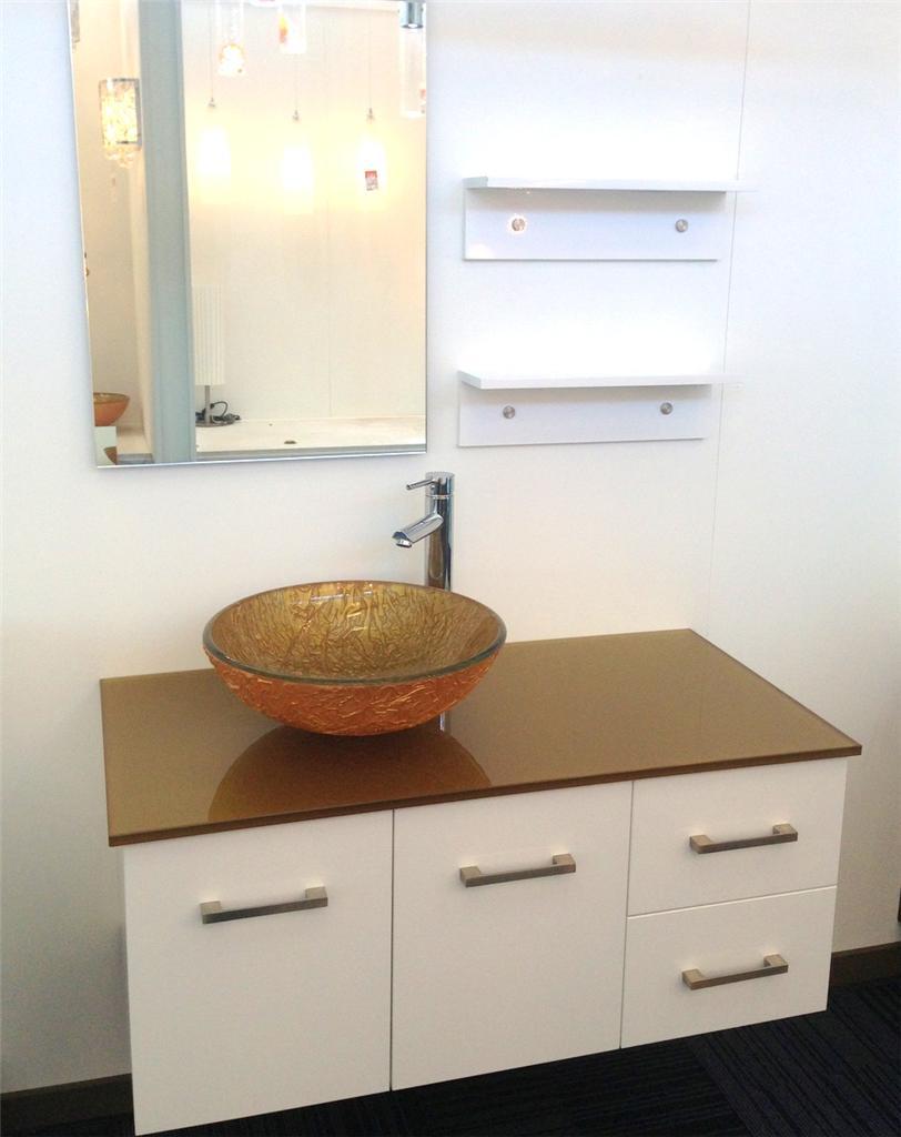 Bathroom Vanity Unit ART Glass TOP Gloss Cabinet 1000mmW ...