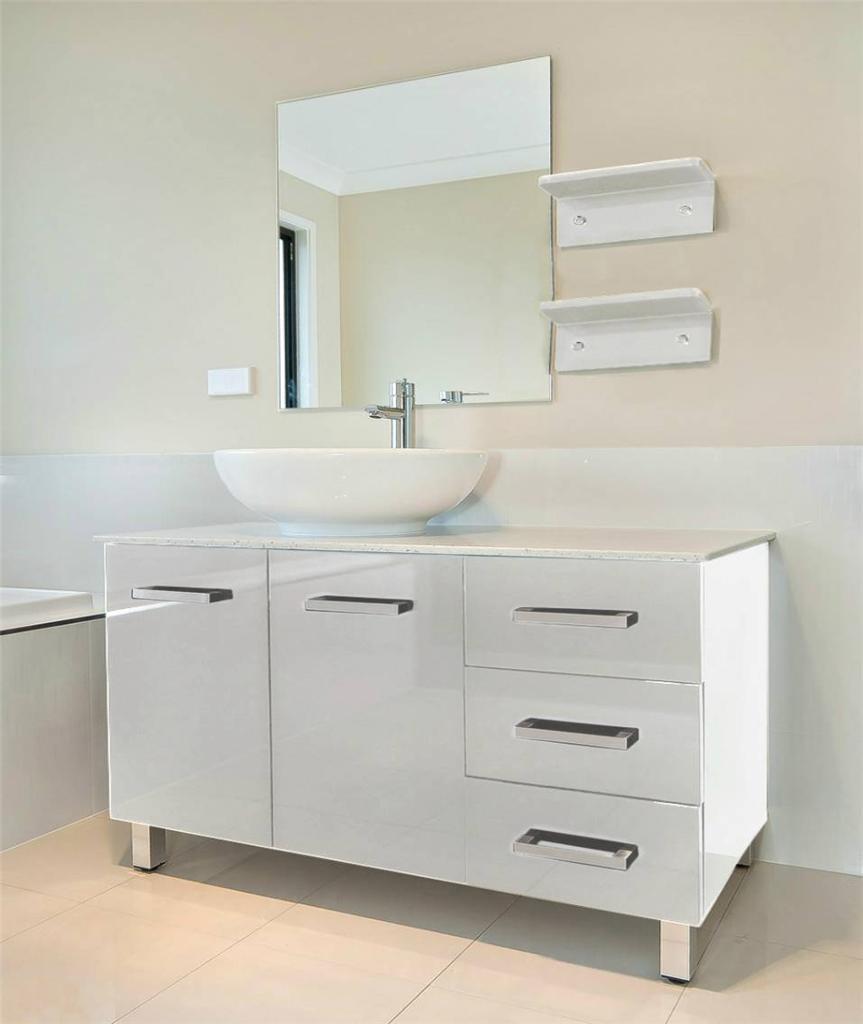 Bathroom vanity unit stone top white cabinet set 1200mmw - Marble top bathroom vanity units ...