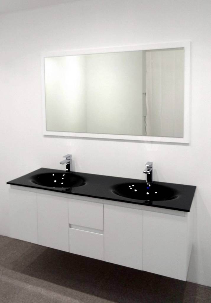 Bathroom Vanity Unit Glass Top Double Cabinet Set 1500mm ...