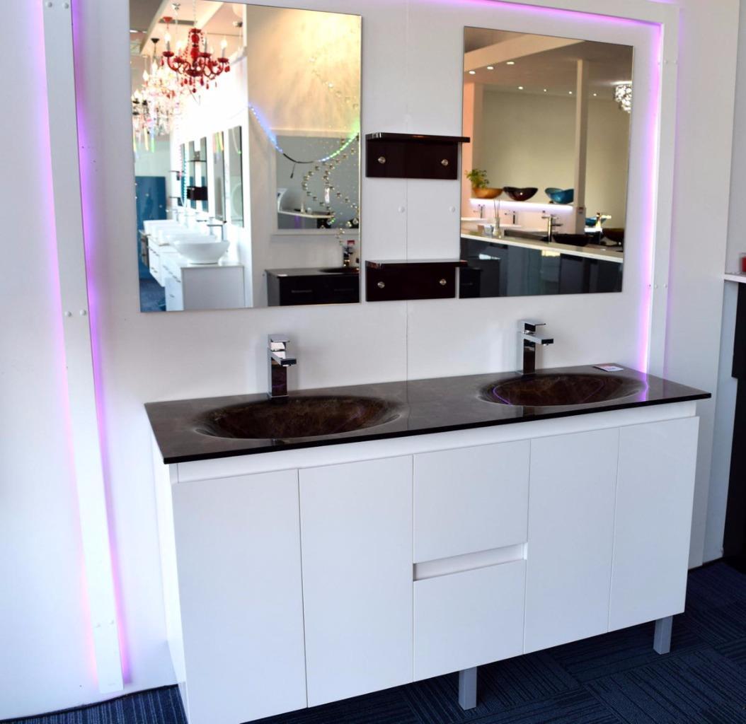 Bathroom Vanities Australia: Bathroom Vanity Unit Integrated Glass TOP Cabinet Set