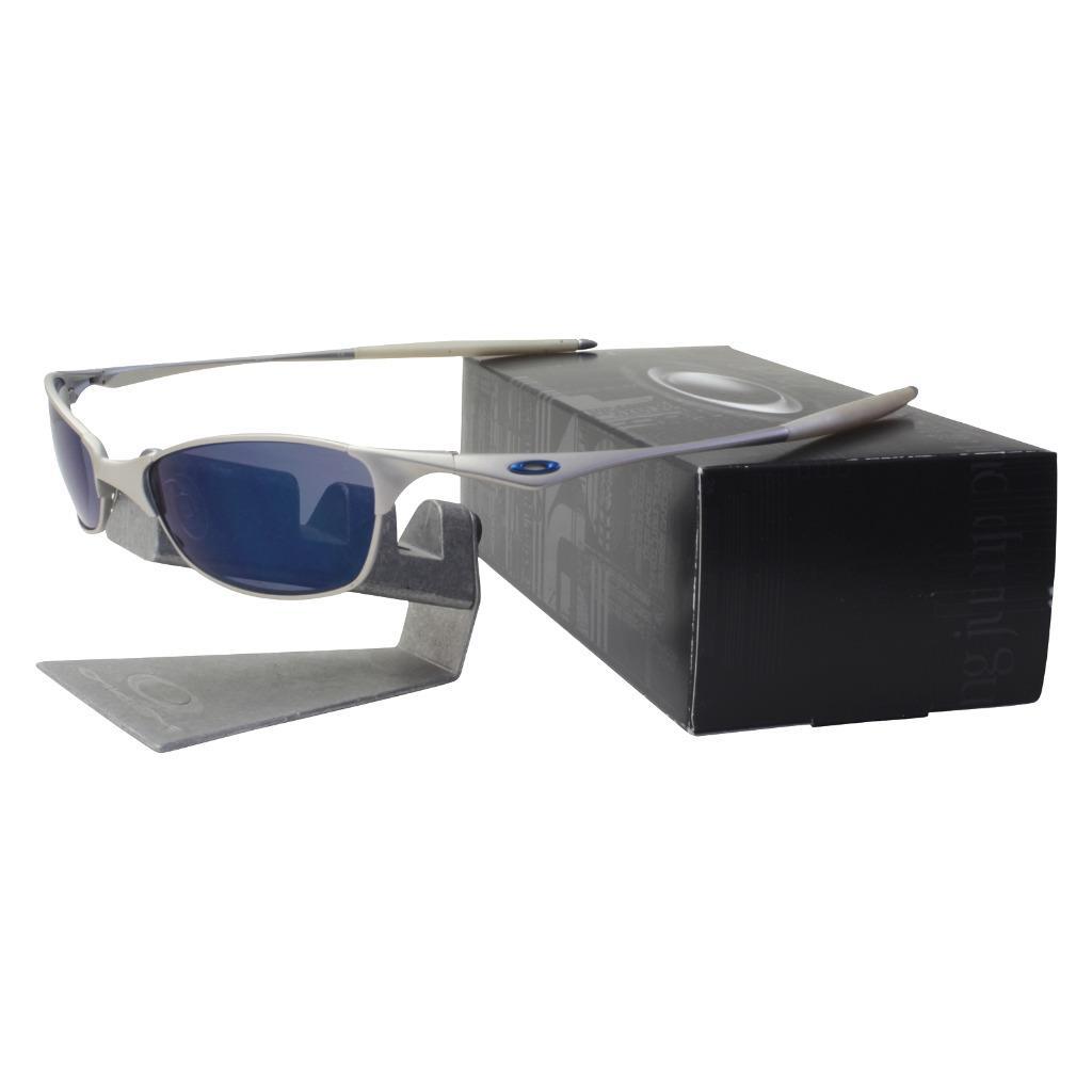 9b8561fa7f Details about Oakley 05-710 WIRETAP Silver Frame w  Ice Iridium Lens Mens  Collector Sunglasses