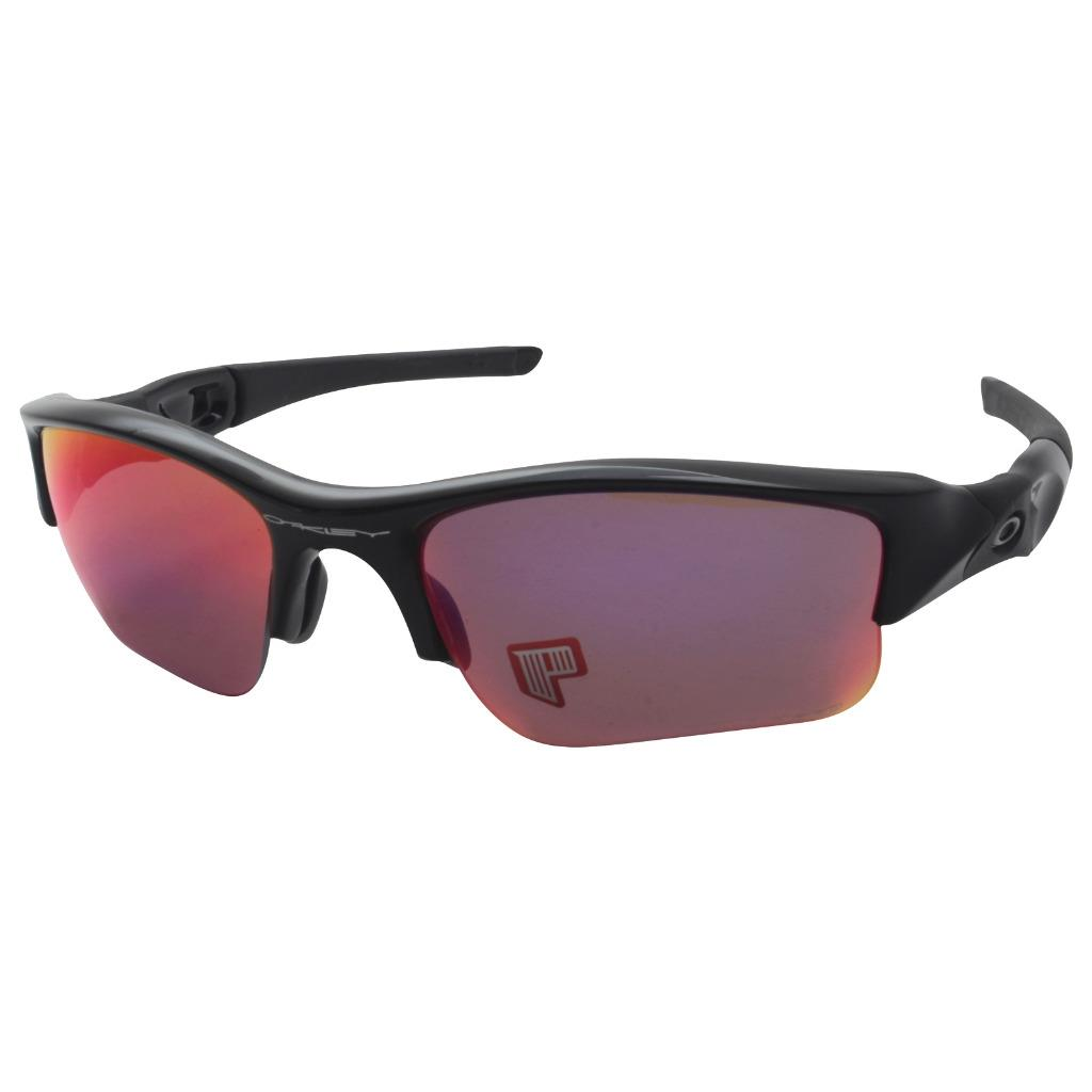 04ee8aebdd1 Details about Oakley 26-241 POLARIZED FLAK JACKET XLJ Polished Black OO Red  Lens Sunglasses .