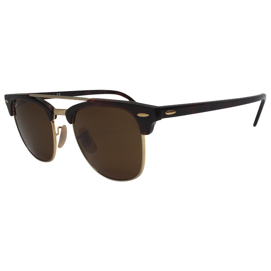 aa8ac53ddb6 Details about Ray-Ban RB 3816 99033 CLUBMASTER DOUBLE BRIDGE Havana Brown  Gold Sunglasses .