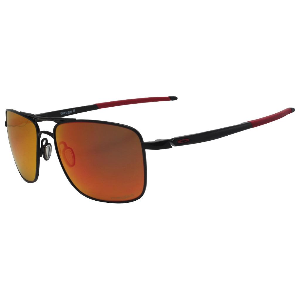 e0494c2c744 Details about Oakley OO 6038-0457 POLARIZED GAUGE 6 Black w  Prizm Ruby  Lens Metal Sunglasses