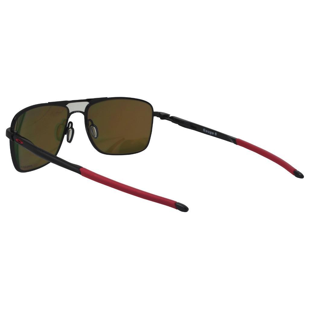 290ad186213 Oakley OO 6038-0457 POLARIZED GAUGE 6 Black w  Prizm Ruby Lens Metal ...