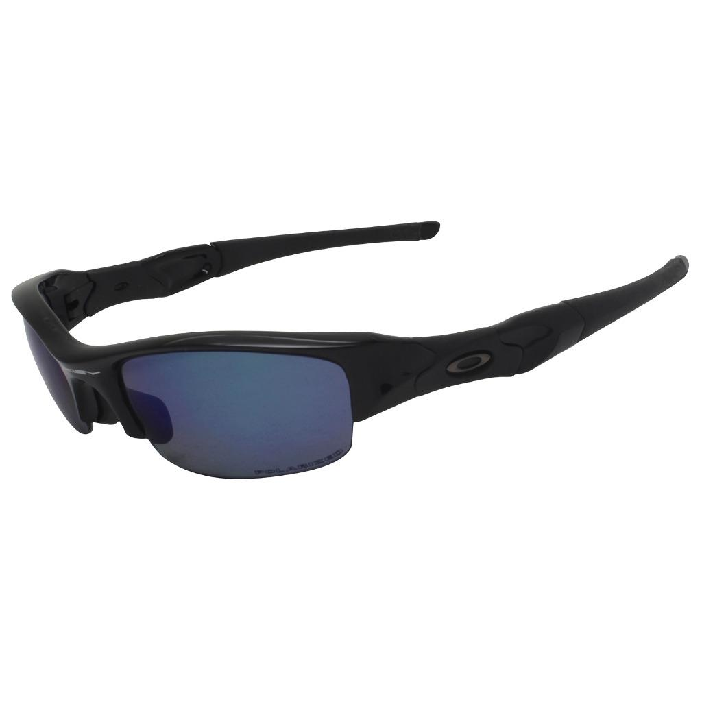 73b7177e850 Details about Oakley Custom POLARIZED FLAK JACKET Polished Black Ice Lens  Sport Sunglasses .