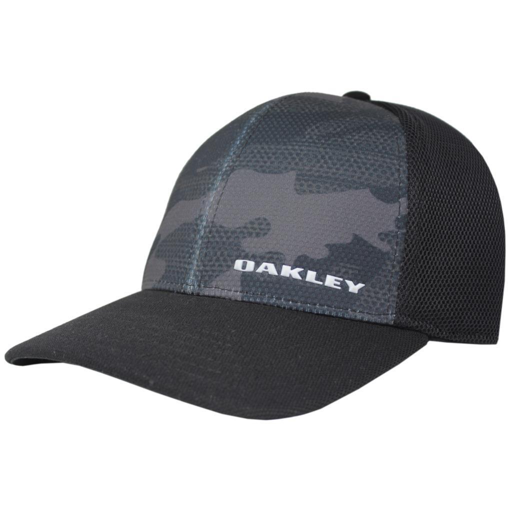 873a99aa2 Details about Oakley Silicon Bark Trucker Print 2.0 Mens S/M Flexi Fit  Black Camo Golf Cap Hat