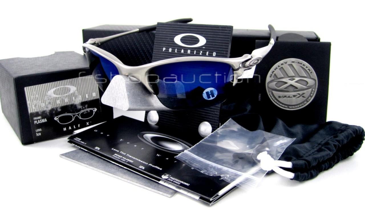 5d7daea296 Oakley 12-946 HALF X Metal POLARIZED Ice Iridium Mens Collectors Sunglasses  New