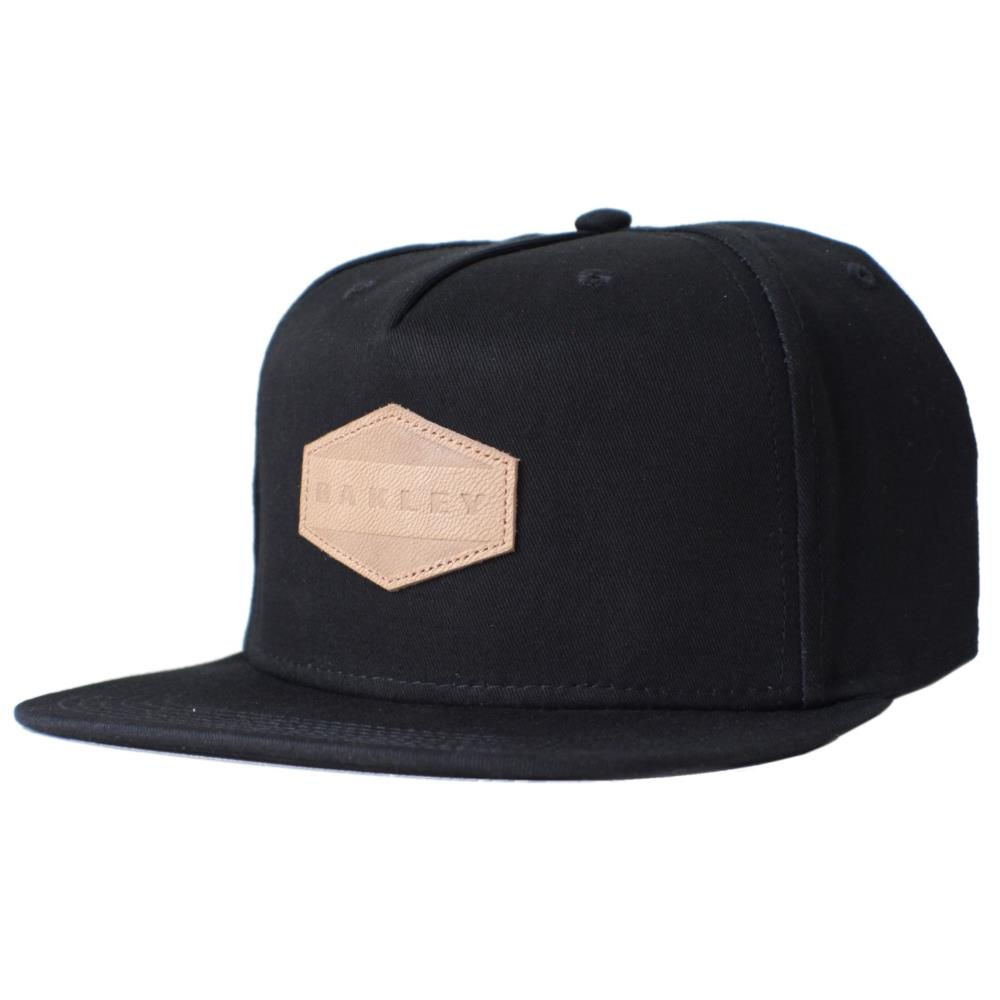 Oakley Drone Cap Plain Black Snapback Adjustable Leather ...