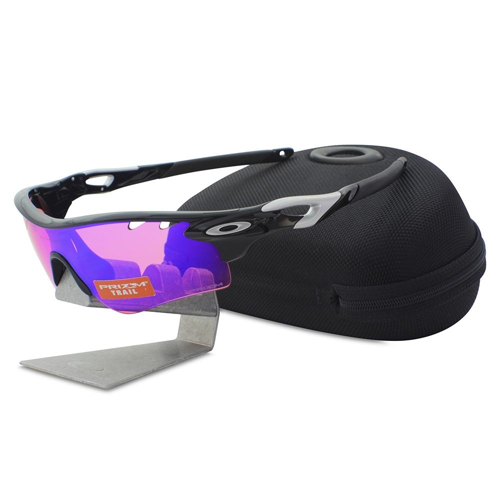 b7139bd243 Details about Oakley OO 9181-41 RADARLOCK Polished Black Prizm Trail    Clear Sport Sunglasses