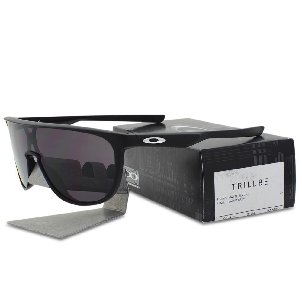 a90a6efd04 Details about Oakley OO 9318-05 TRILLBE Matte Black Frame Warm Grey Lens  Mens Sunglasses .