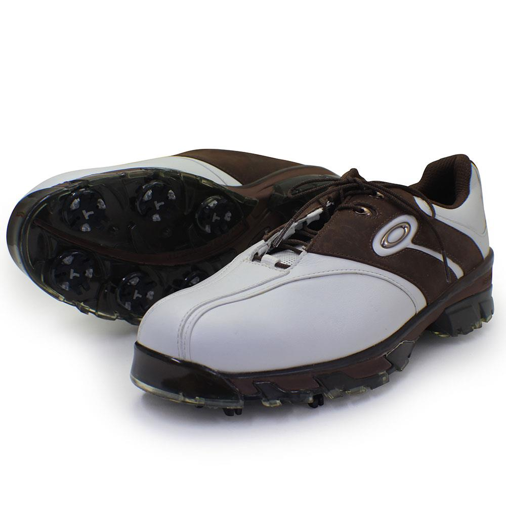 Oakley SUPERDRIVE Wide White Brown 9 US Mens Golf Casual Leather ... c3d79e522b1
