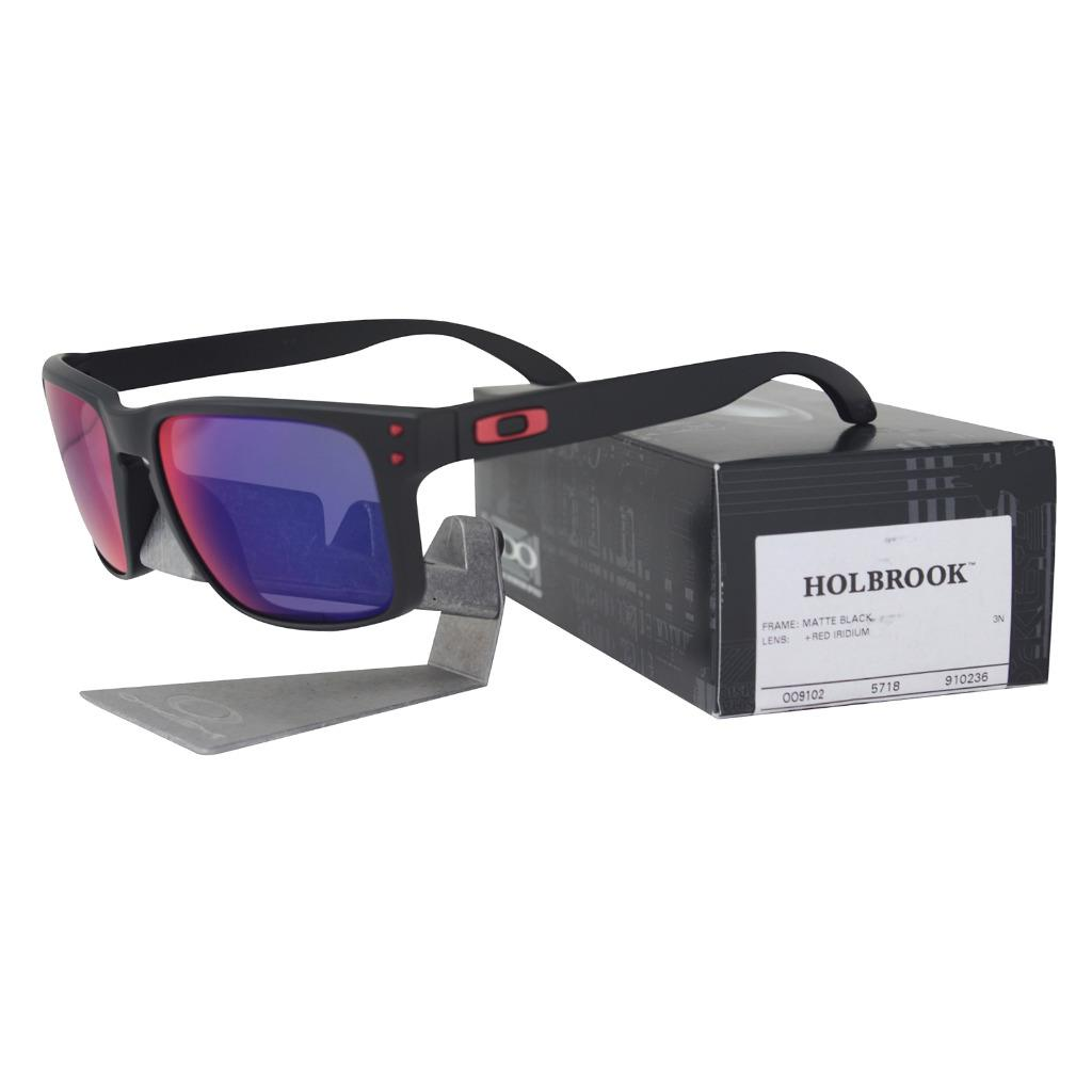 abbb12f374 Details about Oakley OO 9102-36 HOLBROOK Matte Black Frame + Red Iridium  Lens Mens Sunglasses