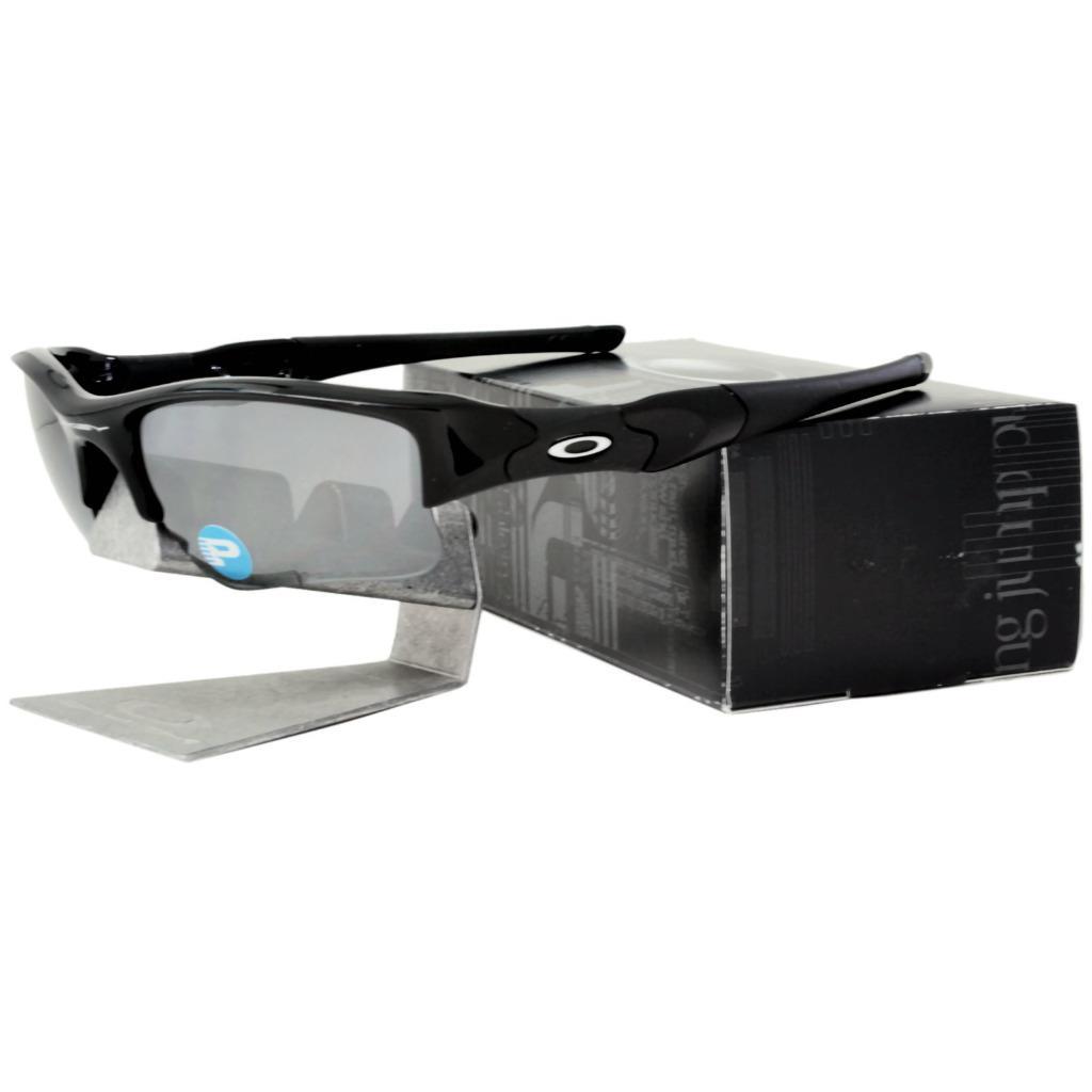 e9158d3653 Details about Oakley 12-903 POLARIZED FLAK JACKET XLJ Jet Black Iridium  Sport Sunglasses .