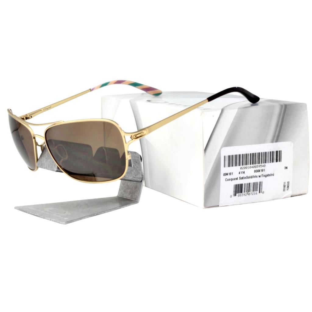 d06cc50bede Details about Oakley OO 4101-03 CONQUEST Satin Gold Tungsten Iridium Lens Womens  Sunglasses .