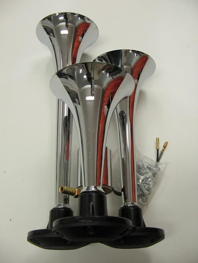 3 klang fanfare druckluft horn hupe f r lkw 12v 24v ebay. Black Bedroom Furniture Sets. Home Design Ideas