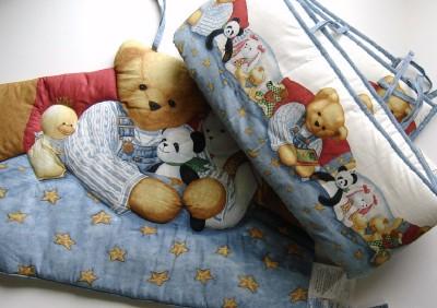 Blue Jean Teddy Bear Baby Boy Crib Set Bumper Headpiece