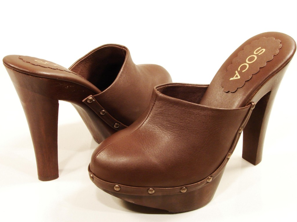 Womens Soca High Heel Wooden Platform Clogs Brown Ebay