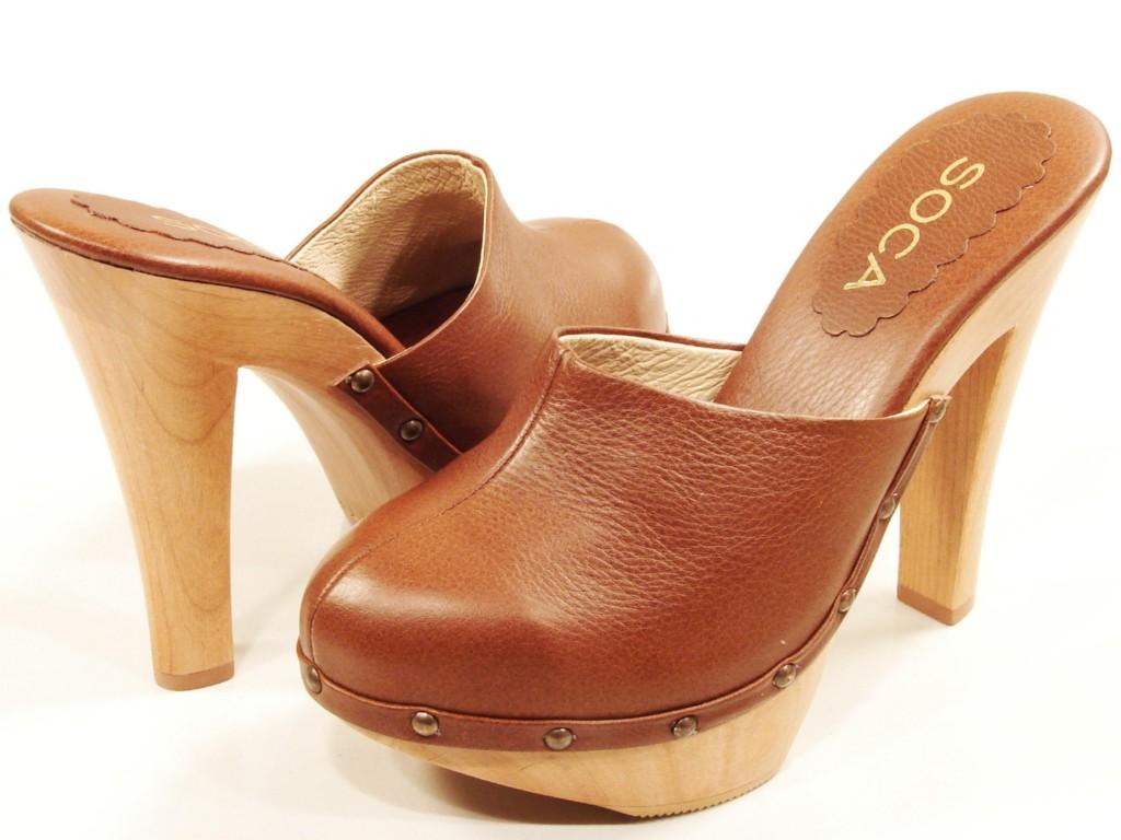 Womens Soca High Heel Wooden Platform Clogs Cognac Ebay