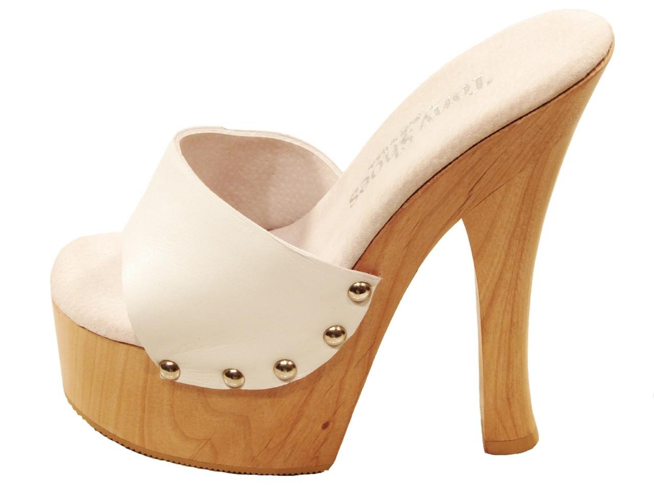 Tony Shoes Candy White High Heel Wood Platform Slip On