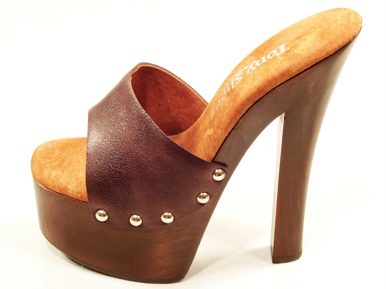 Tony Shoes Candy Brown High Heel Wood Platform Slip On Mules Sandals