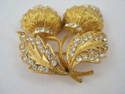 Gold Tone & Clear Rhinestone Strawberry Brooch Pin Earring Set