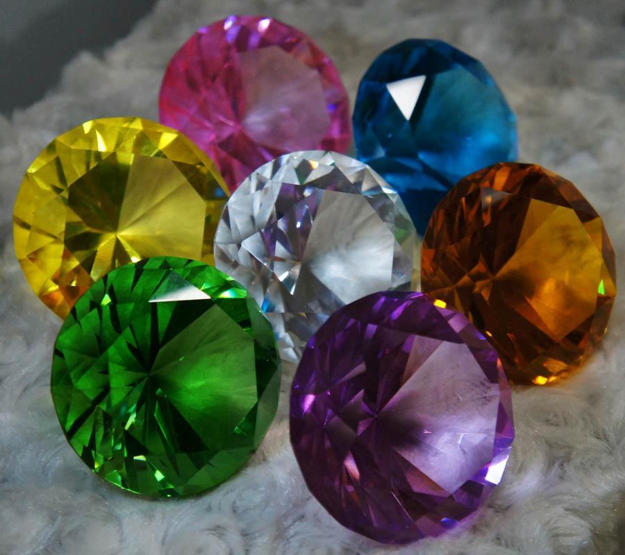 Brilliant Cut Diamond Shape Crystal Glass Paperweight Gem Display Pick Color L