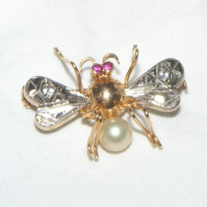 Antique 14k Gold Insect Fly Bee Pin Brooch Ruby Diamond