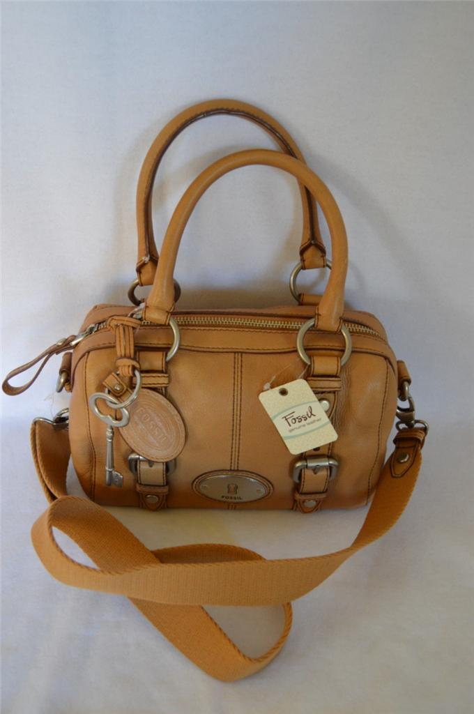Image Is Loading Fossil Camel Small Maddox Leather Satchel Crossbody Handbag