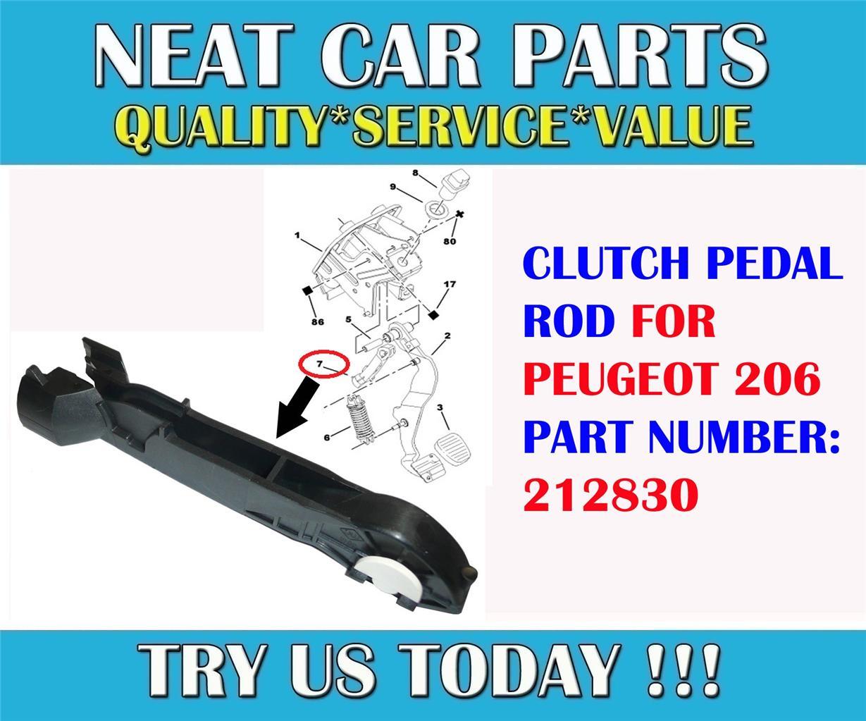 clutch pedal rod for peugeot 206 petrol diesel models 212830 brand new part ebay. Black Bedroom Furniture Sets. Home Design Ideas