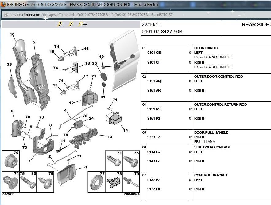 Door Lock Mechanism Latch Control Rear Sliding Peugeot