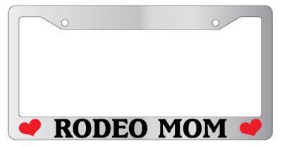 Chrome License Plate Frame Rodeo Mom Auto Accessory Novelty