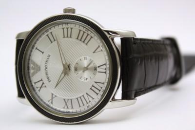 New Emporio Armani Women Classic Black Leather Sub Dial Watch 35mm