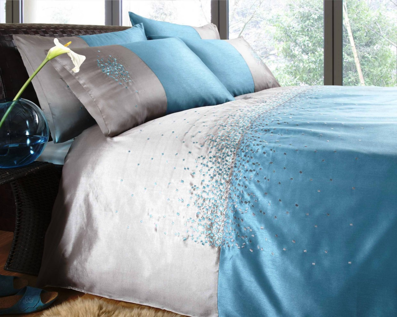 Turquoise Duvet Cover: ELEANOR JAMES SILVER TEAL TURQUOISE DUVET QUILT COVER