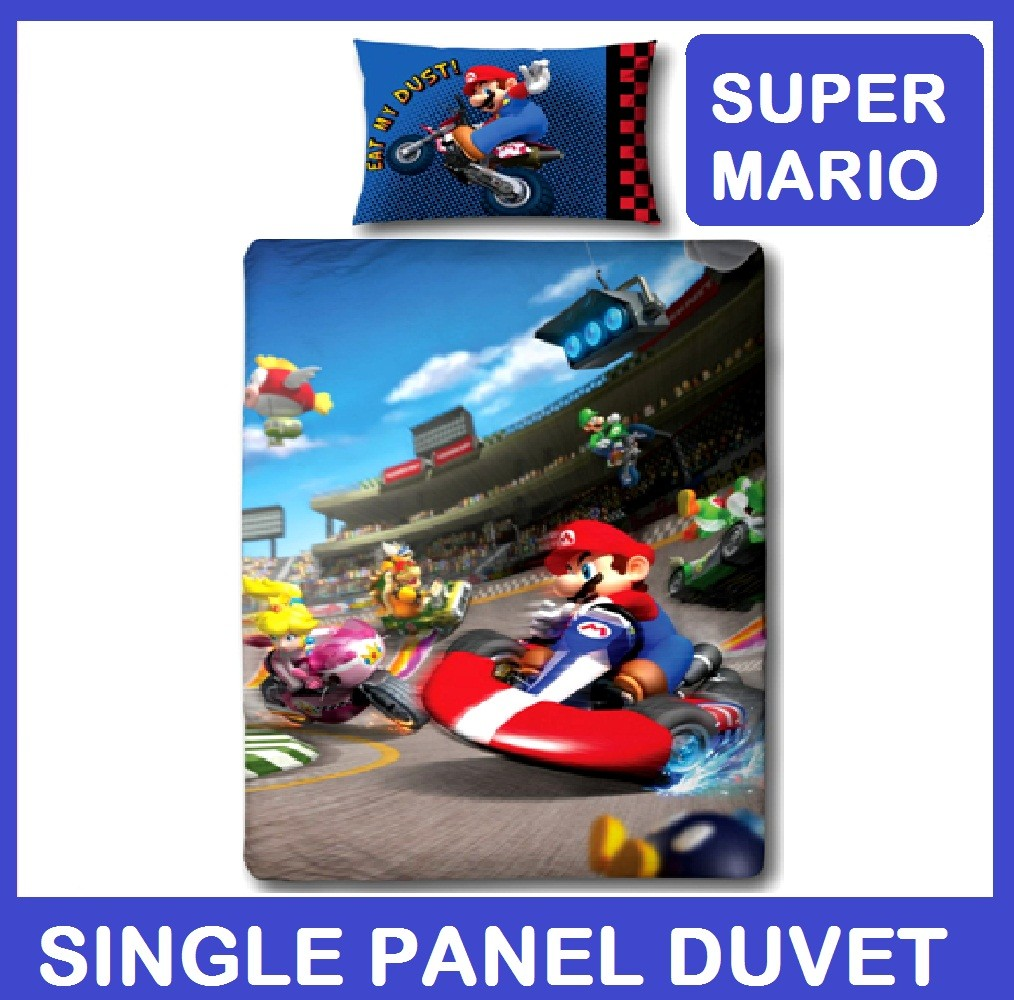 nintendo wii super mario kart rennen einzel platte bettw schegarnitur bett ebay. Black Bedroom Furniture Sets. Home Design Ideas