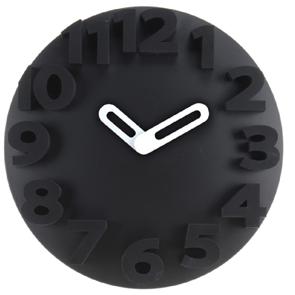 New Large Round Embossed 3d Numbers Wall Clock Hanging
