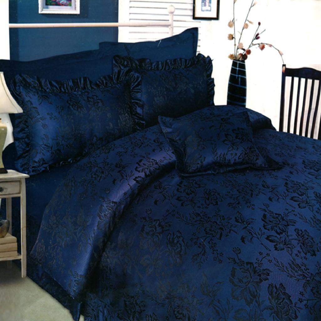 Damask Blue Black Floral Duvet Cover Bedspread Luxury Bed Set On