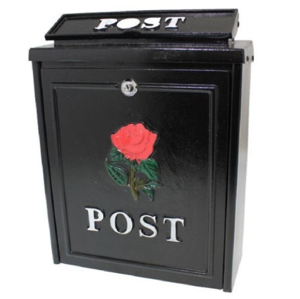 New Key Lock Lockable Wall Mounted Black Letter Box Mail