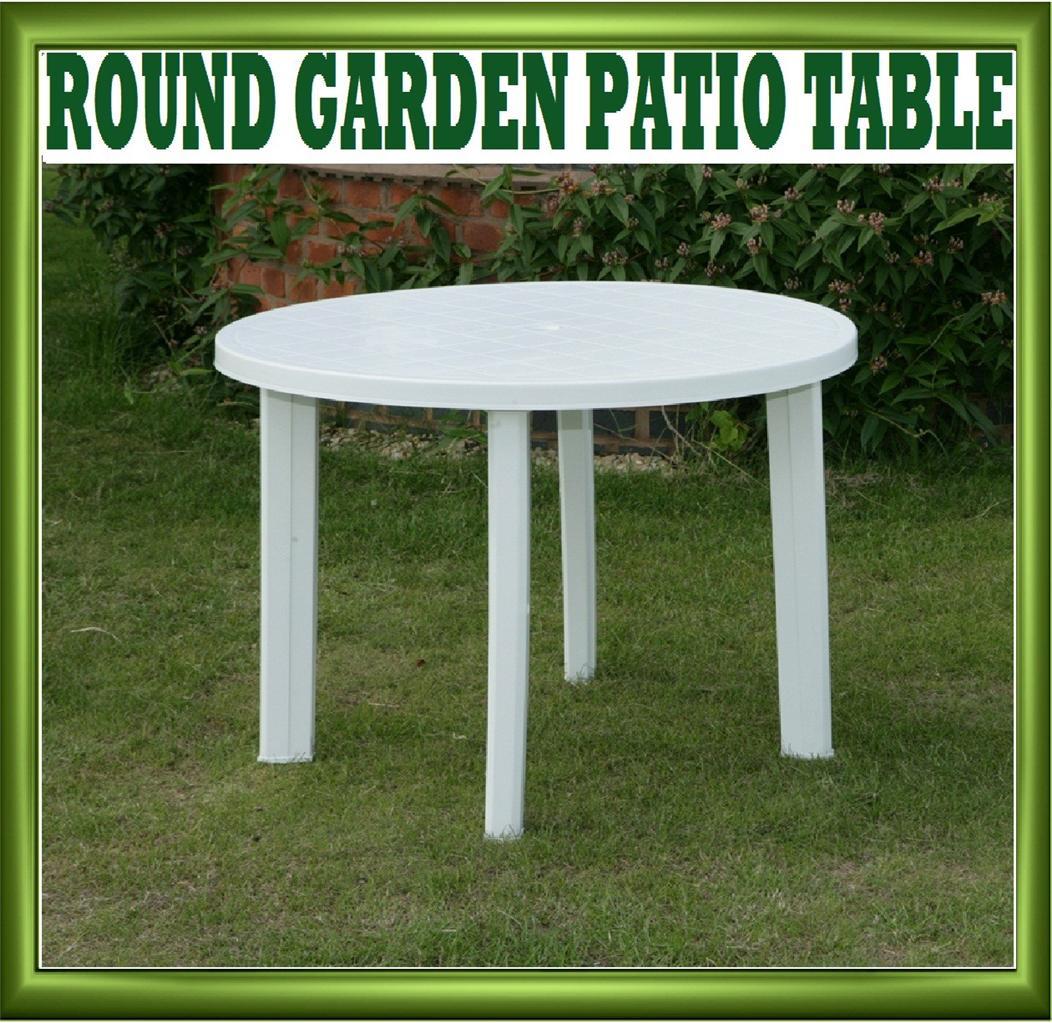 NEW ProGARDEN ROUND WHITE PLASTIC GARDEN PATIO TABLE