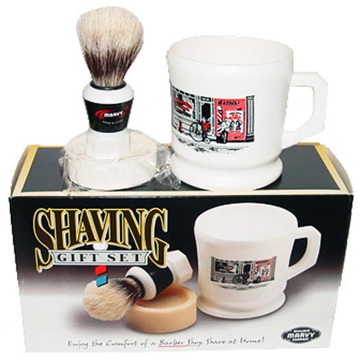 Marvy Shaving Gift Set Contains Boar Bristle Brush Mug Soap Shave