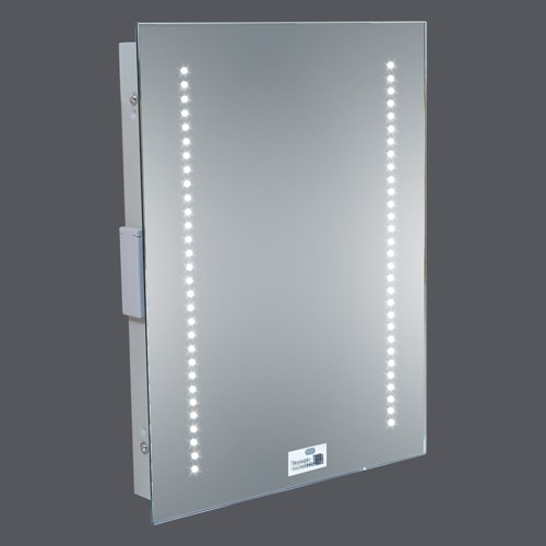 illuminated bathroom cabinet with shaver point led illuminated bathroom mirror 500 x 390mm sensor 25550