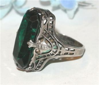 Gorgeous ANTIQUE ART DECO OPENWORK Sterling Silver EMERALD GLASS RING