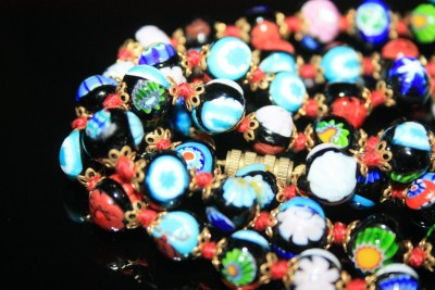 Antique Art Deco Millefiori Colorful Glass 36 Long Heavy Hand Knotted